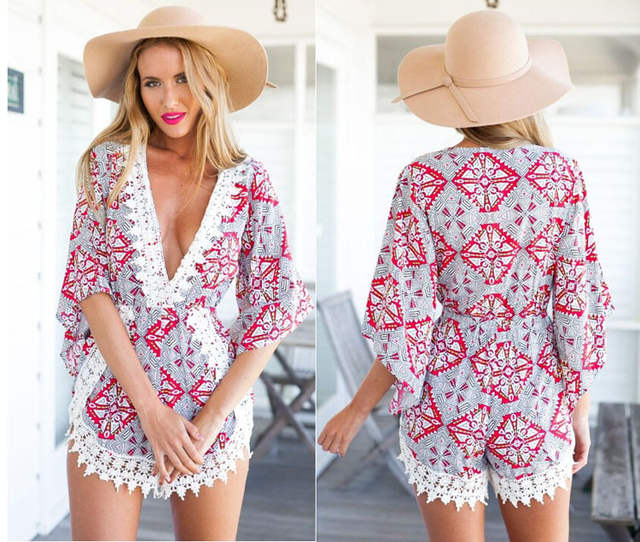 348f95ef41 2016 Hot Sale Summer Rompers Womens Sexy Jumpsuit V-Neck Bodysuit Casual  White Lace Floral