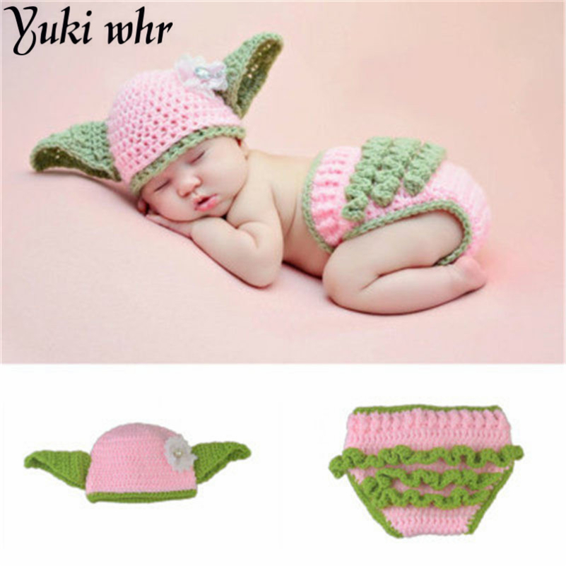 9758afb557bfc US $6.58 19% OFF|1 6 month Baby Photography Props Pink Crochet Clothing Set  Star Wars Yoda Hat & Shorts Newborn Baby Bath Gift-in Hats & Caps from ...