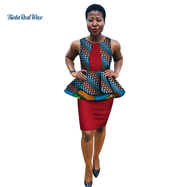 3921b74e08f9 Skirt Top Design 2019: 2019 African Clothes Ankara Print Ruffles Top and  Slim Skirts Sets
