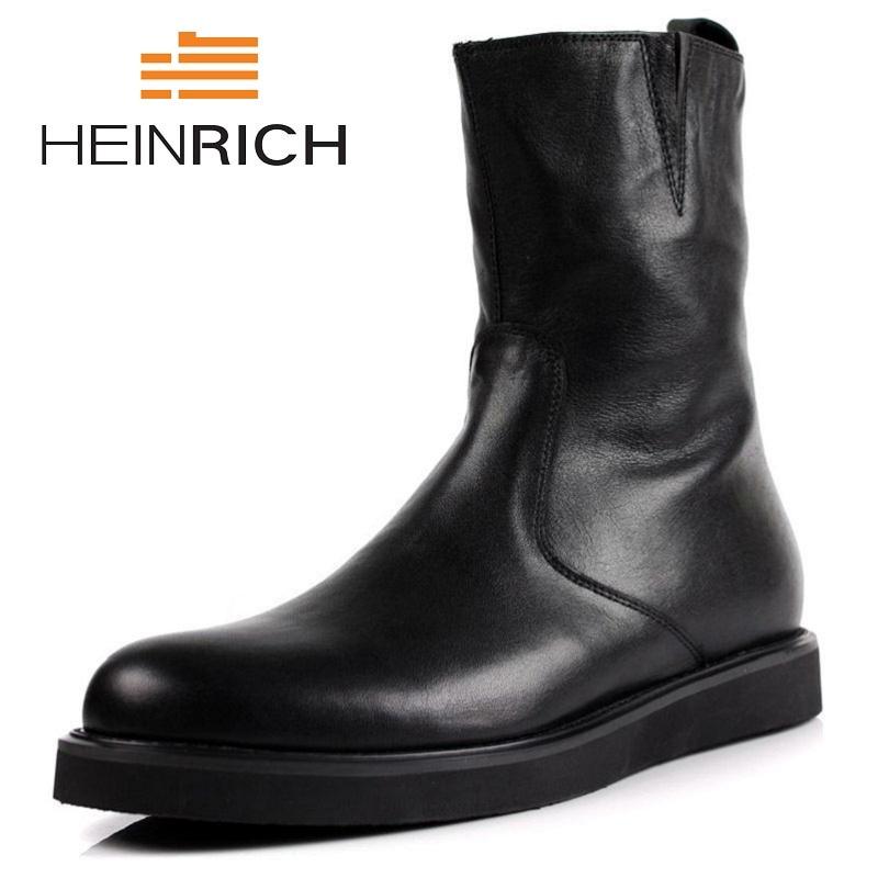 где купить HEINRICH Black Mens Boots Genuine Leather Motorcycle Boots Fashion Mens Winter Rain Boots Men Casual Shoes Coturnos Masculino по лучшей цене