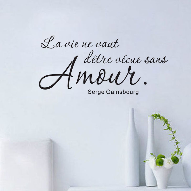 Romantic French Sayings Wall Sticker Wall Decal Art Vinyl Removable English Text Quote Home Decor Living Room