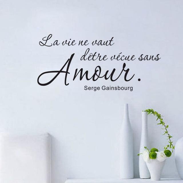 Romantische Französisch Sprüche Wandaufkleber Wandtattoo Art Vinyl  Entfernbare Englisch Text Zitat Wohnkultur Wohnzimmer