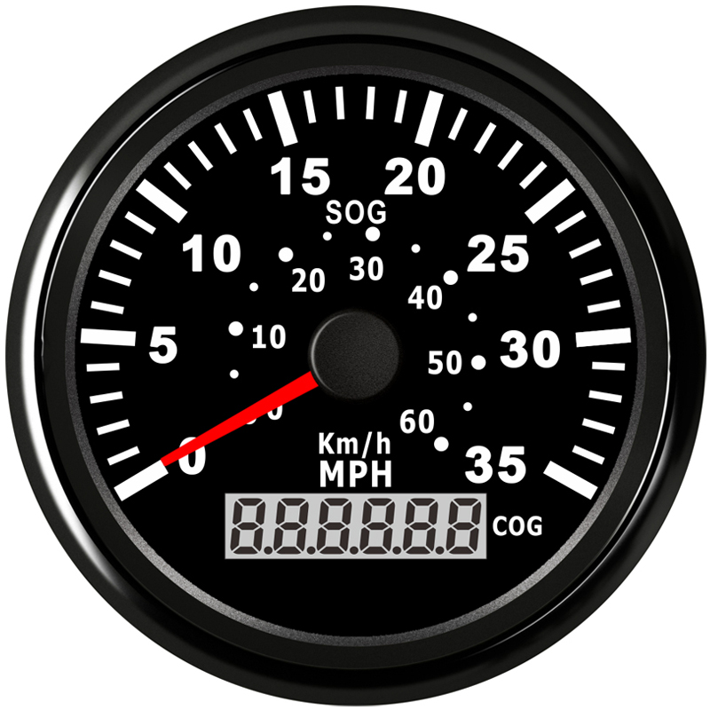 85mm GPS Speedometer 35MPH 60KM H Meter For Boat Yacht Vessel With Backlight and Speed Gauge