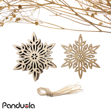 Snowflake Wooden Christmas Pendants Decorations Santa Claus Deer Snowman Wood Crafts Ornaments Decor Supplies 10pcs