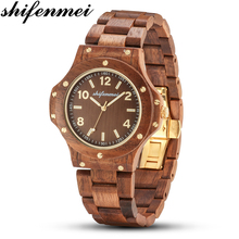 Shifenmei Mens Watches Top Brand Luxury Women Watch Wood Bamboo Wristwatches with Wooden Strap relogio feminino