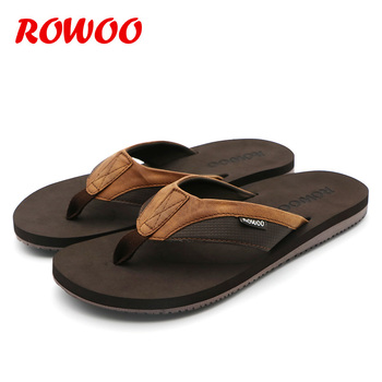 PU Leather Slippers Men Beach Flip Flops Breathable Fashion Flip-Flops For Men Summer Shoes Causal Sandals Indoor Male Slippers 3