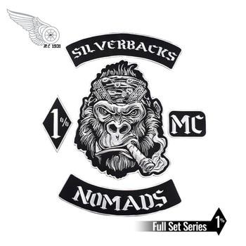 Nomadi Silverbacks MC 1% Patch Nero twill di tessuto con il Ferro sulla Libero di trasporto adatto per Giacca Su Misura di Design FAI DA TE