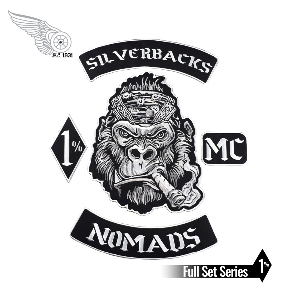 Nomads Silverbacks <font><b>MC</b></font> <font><b>1</b></font>% <font><b>Patch</b></font> Black twill fabric with Iron on Free Shipping suitable for Jacket Custom DIY Design image