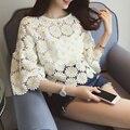 Women Lace Crochet Blouse Flare Sleeve Loose Chiffon Shirt 2017 Summer Sweet White Hollow Tops Blusas Feminino Plus Size B743