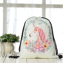 Unicorn Printed Bag with Pencil Case
