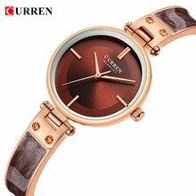 CURREN Women Watches Elegant Brown Golden Ultra-Thin Simple Quartz Wrist Watch Bracelet Reloj Girls Ladys Clock Relogio Feminino