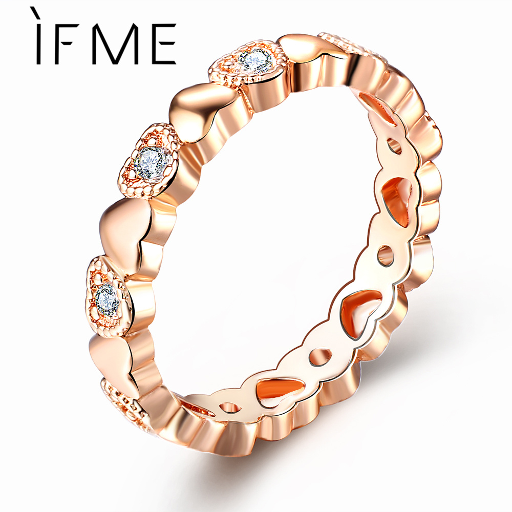 IF ME Fashion Full Cubic Zirconia Love Heart Crystal Rings for Women Romantic Rose Gold Silver Color Female Finger Jewelry 2018