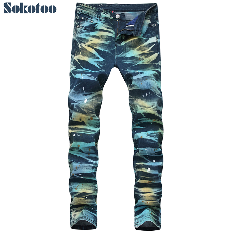 Men's colored tie and dye slim   jeans   Trendy plus size painted denim pants