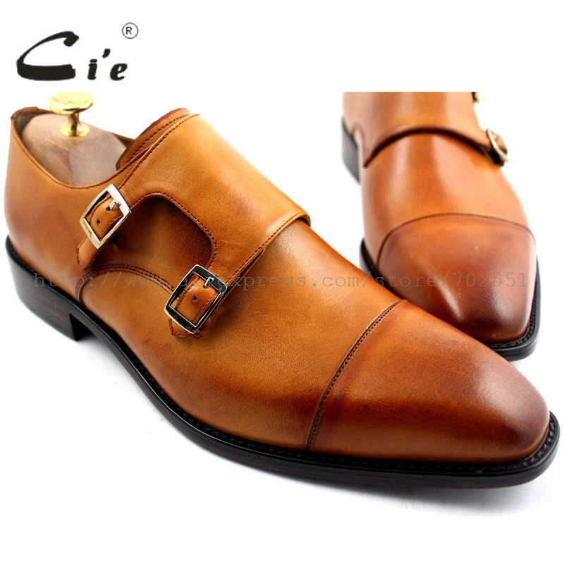 cie Free Shipping Square Captoe Toe Handmade Genuine Calf Leather Double Men's Monk Straps Color Patina Painted Brown No.MS29 купить часы haas lt cie mfh211 zsa