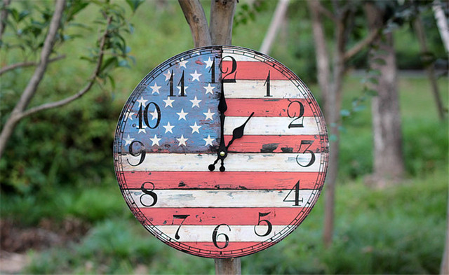 2017 New Design  Wood Wall Clocks Antique Vintage Home  Watch Time Clock Furnishing  Wooden England Flag  Wall Clock Figurine
