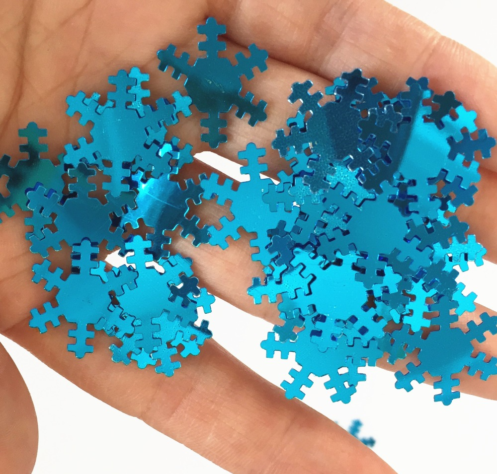 Christmas sprinkles TABLE GLITTER 1.8 cm BLUE SILVER SNOWFLAKE Confetti supplies Wedding HAPPY BIRTHDAY PARTY decoration kits