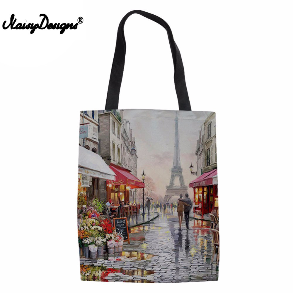 Paris Flower Street Landscape Pattern Casual Women Tote Canvas Shoulder Bag 2018 Beach Bags Tote Feminina Shopping Bags beach house paris