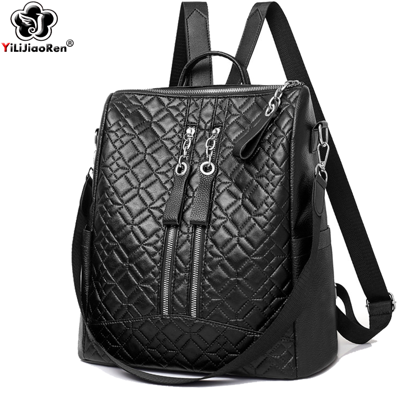 Vintage Backpack Women Famous Brand Leather Backpack Purse Large Capacity School Bag Casual Shoulder Bags for Women Mochila 2019 in Backpacks from Luggage Bags