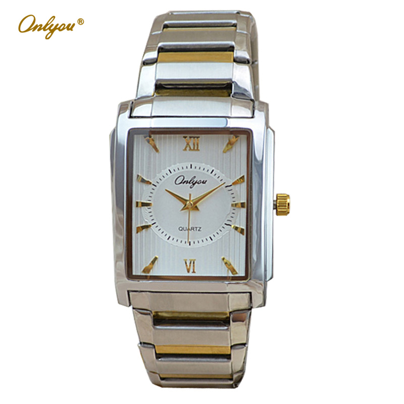 Wrist Watches for font b Women b font Men Rectangle Quartz Stainless Steel Ladies Dress Watch