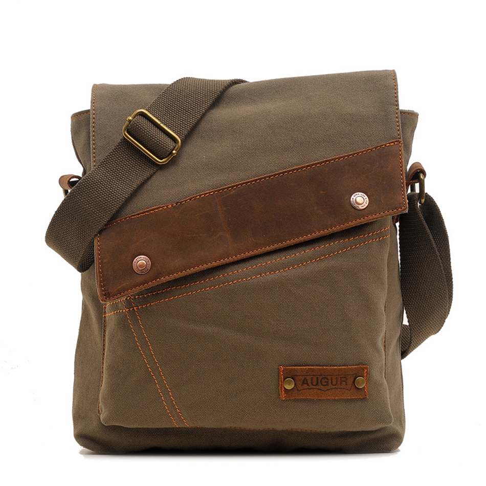 AUGUR Canvas Crossbody Bag Men Vintage Messenger Bags Large Capacity Handbag Fashion Casual Travel Bags Shoulder Bag for Men augur fashion men s shoulder bag canvas leather belt vintage military male small messenger bag casual travel crossbody bags