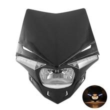 Enduro Style Black Motorcycle Headlight Fairing Kit  LED Hi-Lo Beam Bulbs 12V For Yamaha Suzuki Honda Aprilia Beta