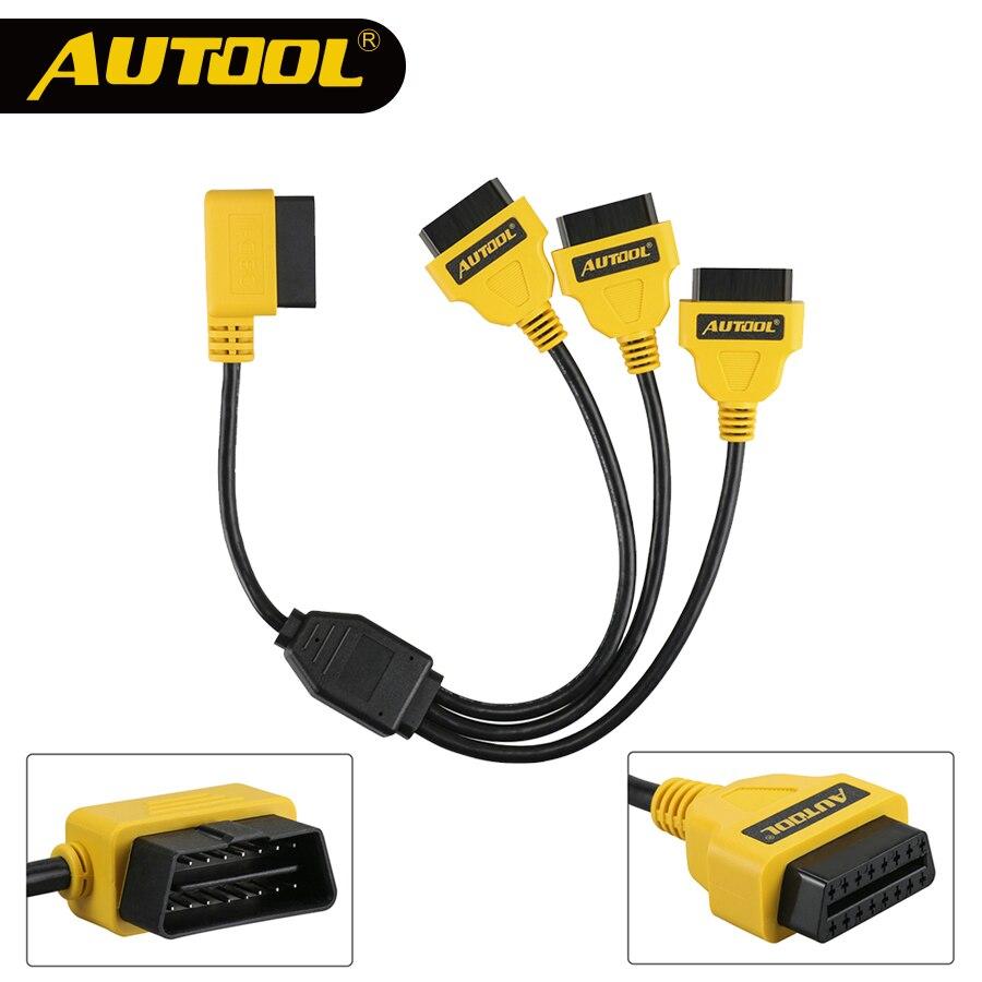 AUTOOL OBD2 divisor de Cable OBD 2 ampliar Y Cables de 1 a 3 convertidor de adaptador de Cable de 50 cm J1962M a 3-J1962F OBD2 extensión dividir cable
