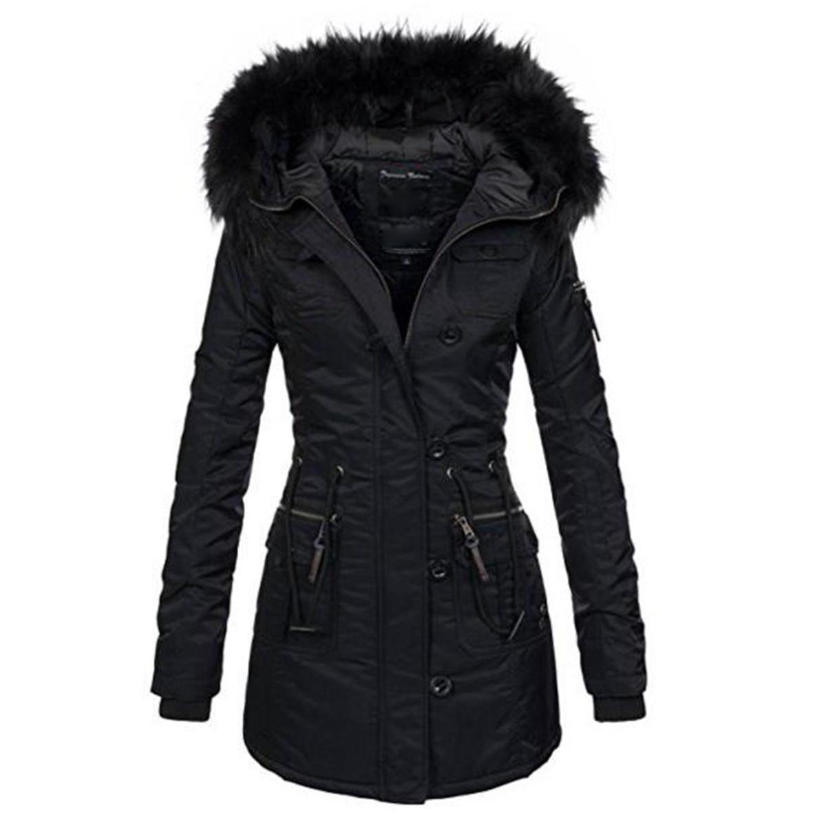 Kinikiss 2018 femmes hiver épaissir chaud manteau femme automne à capuche coton fourrure grande taille basique veste d'extérieur slim long dames