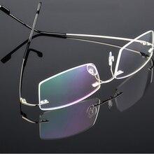 9c292499aa Flexible Memory Titanium Rimless Eyeglasses Frame Women Men Lightweight  Optical Glasses Oculos De Grau Glasses Frame