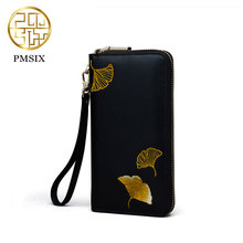 Pmsix2017 New Chinese style Leather long wallet women embroidery cowskin split leather black purse P420029