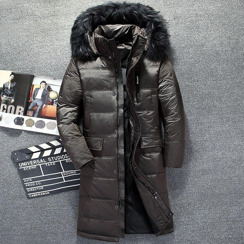 Russia winter   down     coat   for men chaqueta plumas hombre high quality hat fur collar long   coat   men   down   jacket thick overcoat male