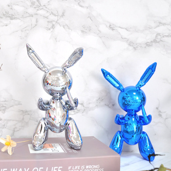 Abstract Plating Art Rabbit Figurine Bunny Art Sculpture Home Decorations Resin Crafts Ornament R1782