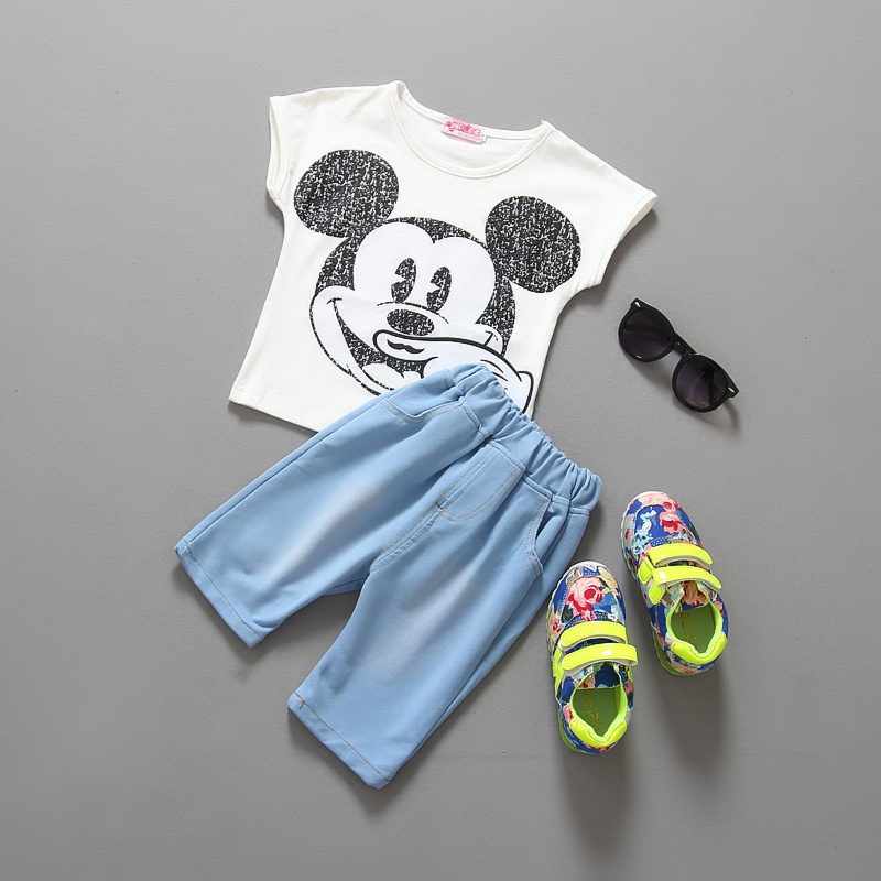 (LUCKY STORE) baby girls minnie t-shirt + jeans clothing set