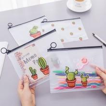 Cute Zipper PVC Cactus Pen Bag Large Capacity File 21cm*16.5cm Pencil Pouch Storage Office School Supplies