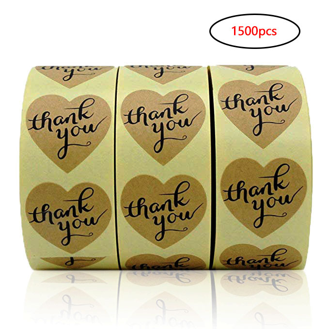 Heart Natural Craft Thank You Stickers Seal Labels 500 Labels Per Roll Cute Stickers For Package Adesivo Sticker Stationery