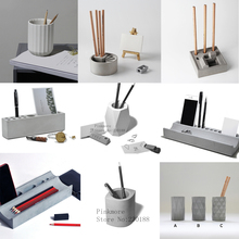 Cement pen container silicone mold concrete gypsum stationery multiple geometric design  storage