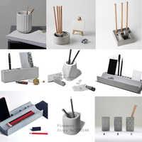 Cement pen container silicone mold concrete gypsum stationery pen container mold multiple geometric design pen storage mold
