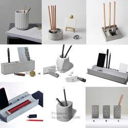 Pojemnik na długopisy cementowe formy silikonowe betonowe gipsowe artykuły papiernicze pojemnik na długopisy formy wielokrotnego geometryczny wzór schowek na długopisy formy