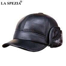 LA SPEZIA invierno gorras de béisbol de los hombres de cuero genuino de vaca  caliente de pico de pato sombrero hombre negro orej. 81b97cde3b2