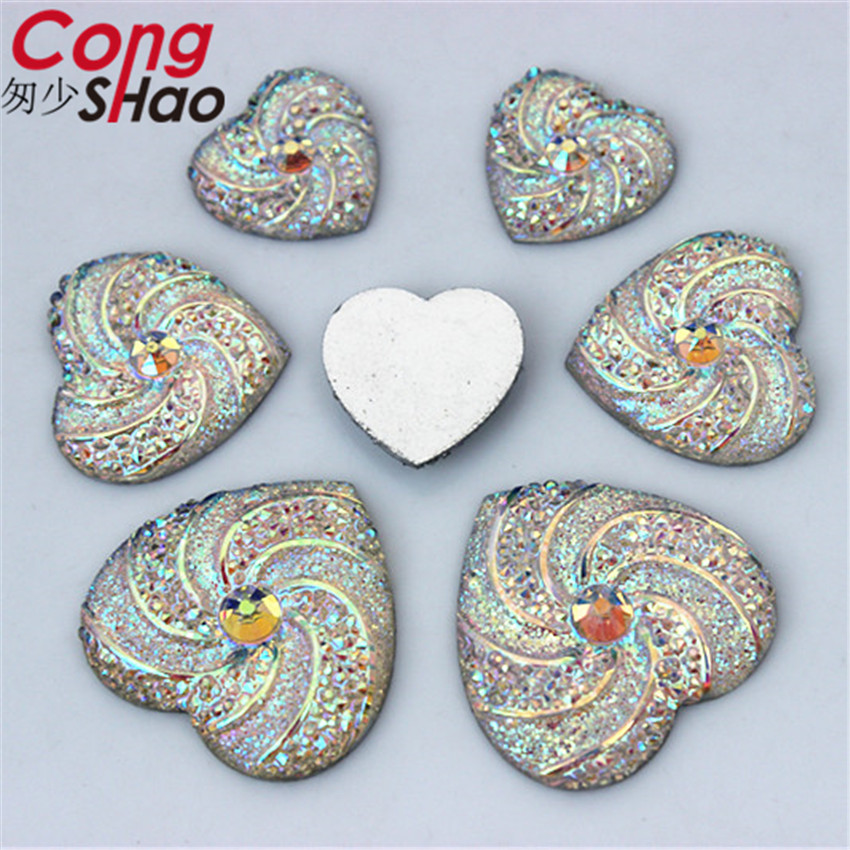 Cong Shao 3 Size Clear AB flatback Resin Hear Rhinestone trim stones and  crystals DIY costume cb9127208a31