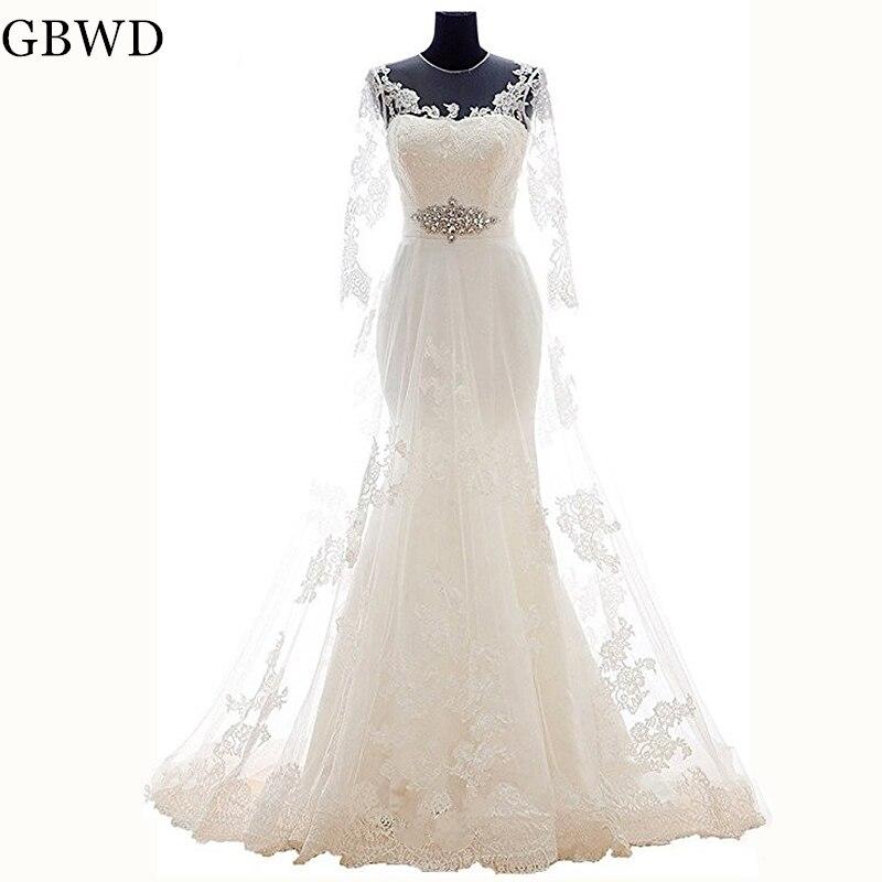 Simple Elegant White Lace Mermaid Wedding Dresses 2019