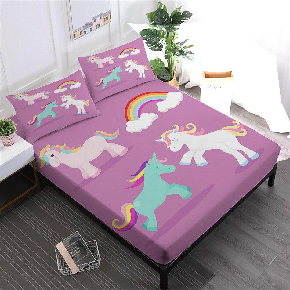 Filles doux draps ensemble dessin animé licorne drap housse coloré arc-en-ciel drap de lit jumeau roi reine literie taie d'oreiller décor à la maison