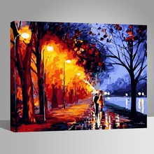 RIHE Street light Couple DIY Oil Painting By Numbers Home Decor Canvas Modern Wall Art for living room Acrylic Paint