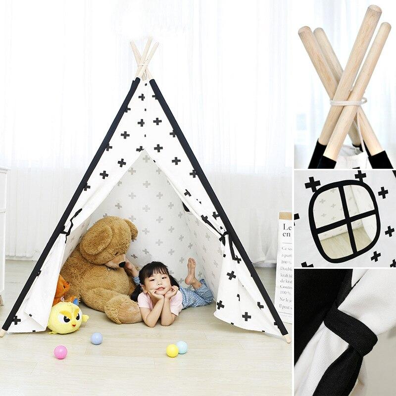 Nouveau pur coton indien enfants tente bébé jeu maison Playhouse pour enfants toile Triangle pliable bébé plage tente