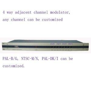 4-полосный модулятор CATV, прилегающий модулятор частоты для гостиницы/школы/общежития 4 AV в 1 RF out PAL-B/G, NTSC-M/N, PAL-DK/I