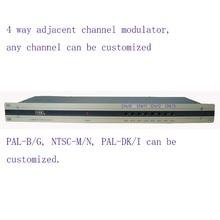 4 drożny modulator CATV sąsiedni Modulator częstotliwości dla hotelu/szkoły/akademika 4 AV in 1 RF out PAL B/G, NTSC M/N, PAL DK/I