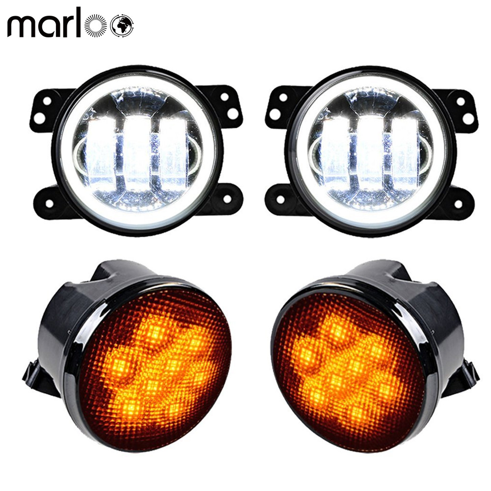 Marloo 4 Inch Round LED Fog Light White Halo Angle Eyes With Amber Turn Signal Indicator Lamp For 2007-2017 Jeep Wrangler JK JK combo for 2007 2015 jeep wrangler smoke lens amber led front turn signal light fender side marker parking lamp