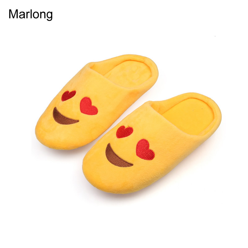 Marlong Women Soft Velvet Indoor Floor Expression Slippers Cute Emoji House Shoes Soft Bottom Winter Warm Shoes For Bedroom 2016 winter new soft bottom solid color baby shoes for little boys and girls plus velvet warm baby toddler shoes free shipping