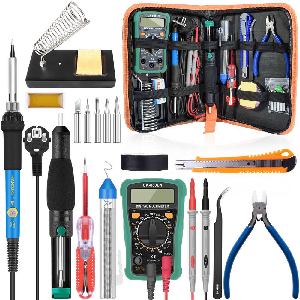 60W 110/220V Adjustable Temperature Soldering Iron Kit Digital Multimeter Soldering Tips Desoldering Pump Cutter Solder Wire(China)