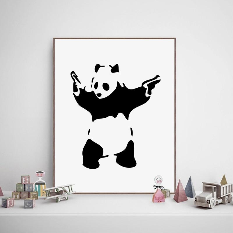 banksy panda armas impresin de la lona abstracta decoracin arte de la pared graffiti banksy