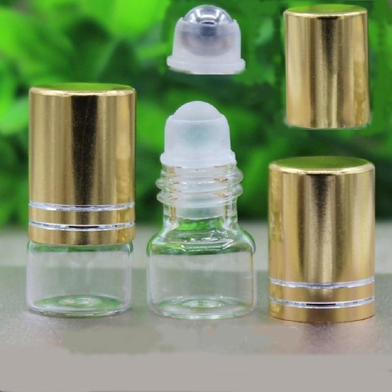 1ml Glass Roll on Bottle Clear Glass Roller Bottles Mini Perfume Test Vial Metal Bead Glass Roller Gold Cap Essential Oil Bottle